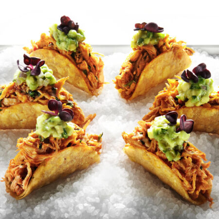 Chicken Ropa Viejas Tacos with Avocado and Chipotle Cream